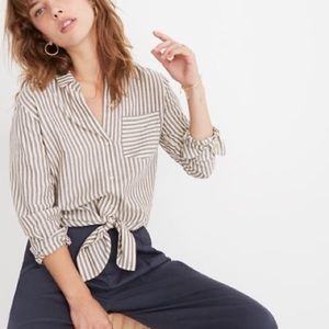 Madewell maitland stripe front tie shirt NWT